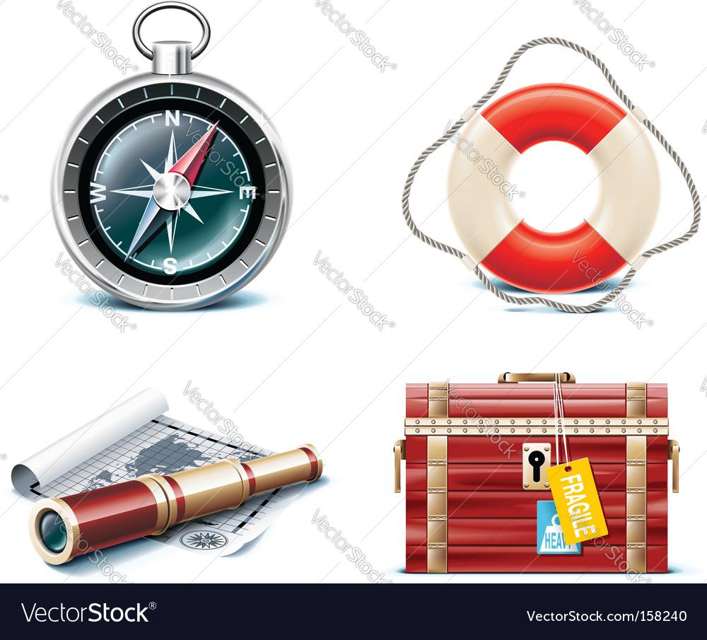 Marine travel icons vector | Price: 1 Credit (USD $1)