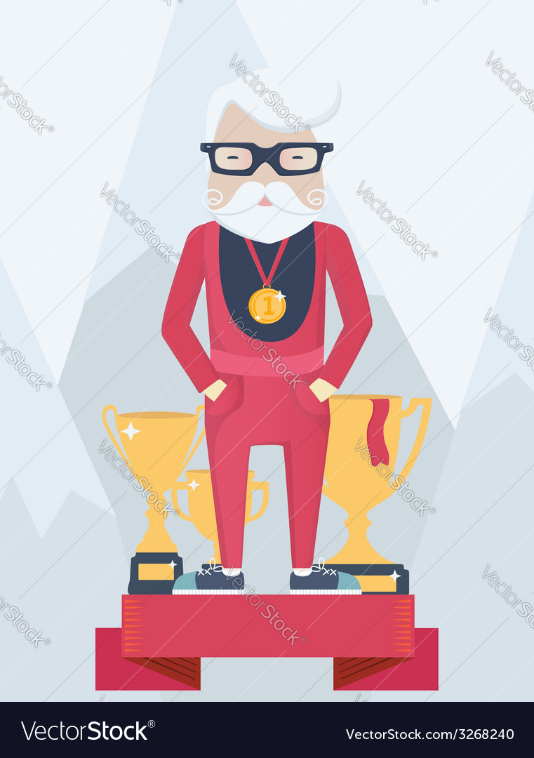 Old man on a winners podium in sport vector | Price: 1 Credit (USD $1)