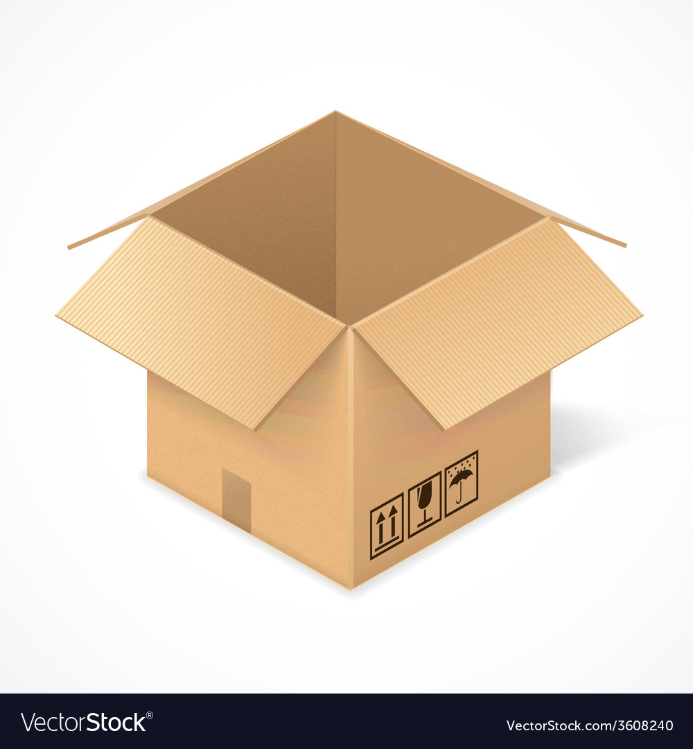 Opened cardboard box isolated on white vector | Price: 1 Credit (USD $1)