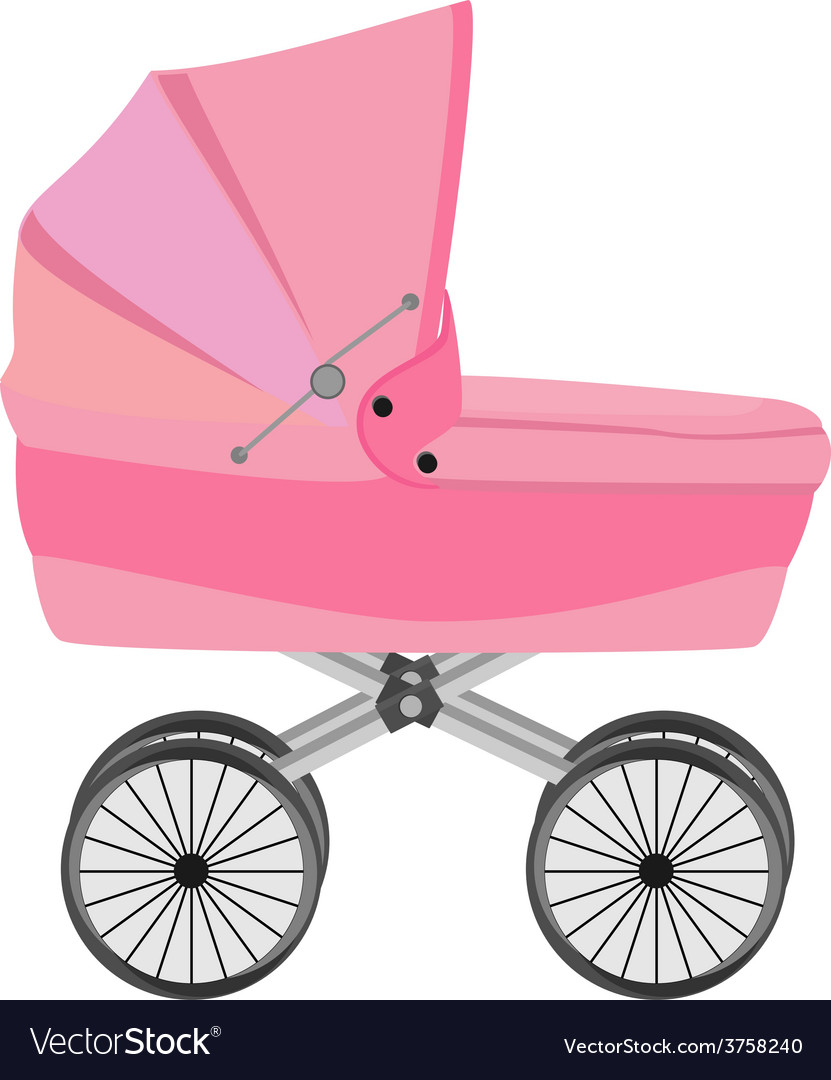 Pink baby pram vector | Price: 1 Credit (USD $1)