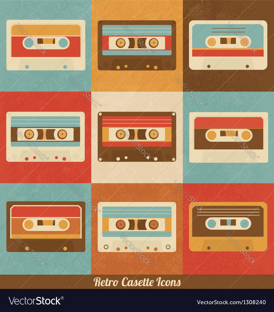 Retro cassette icons vector | Price: 1 Credit (USD $1)