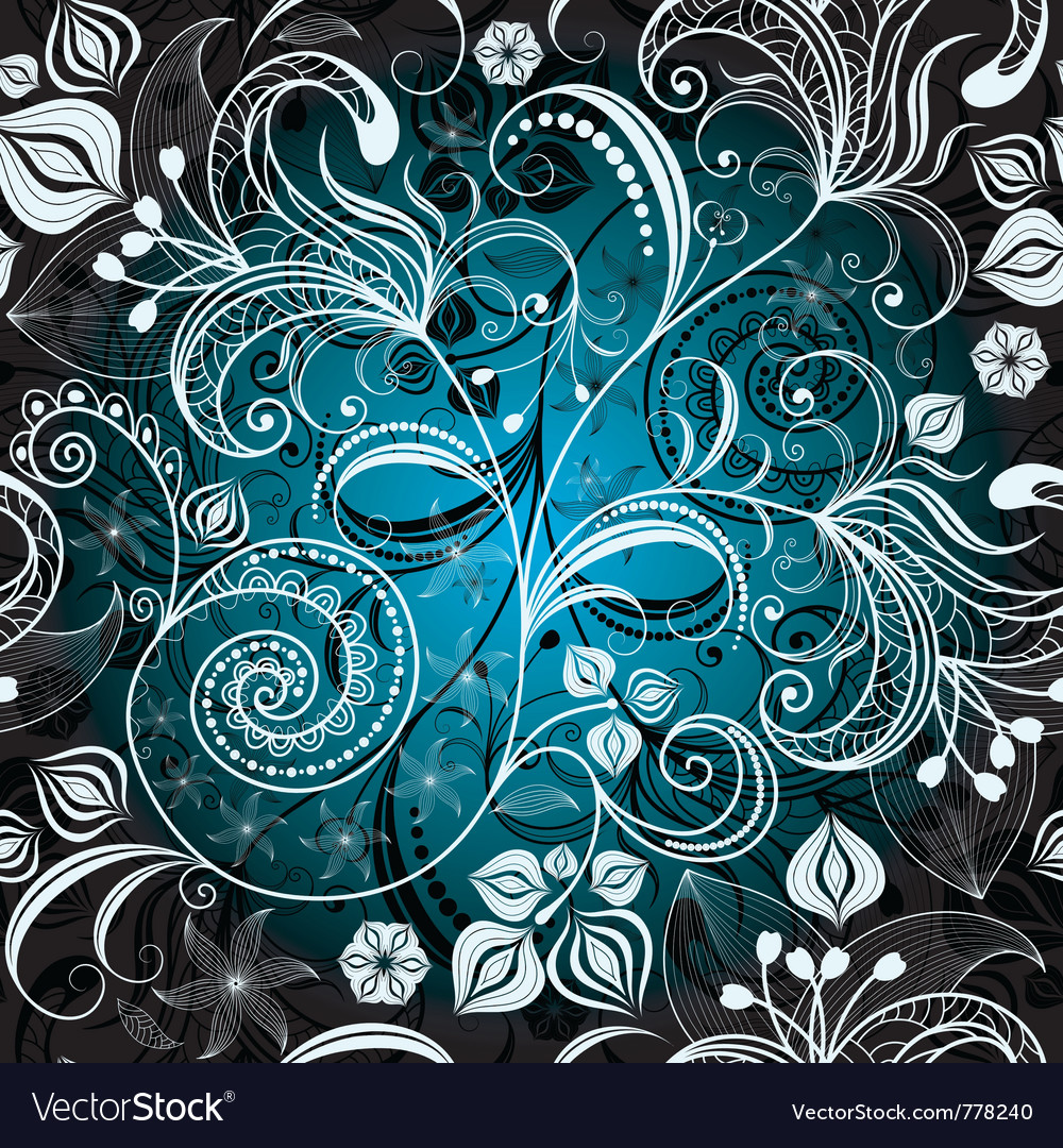 Seamless black and white-blue floral pattern vector | Price: 1 Credit (USD $1)