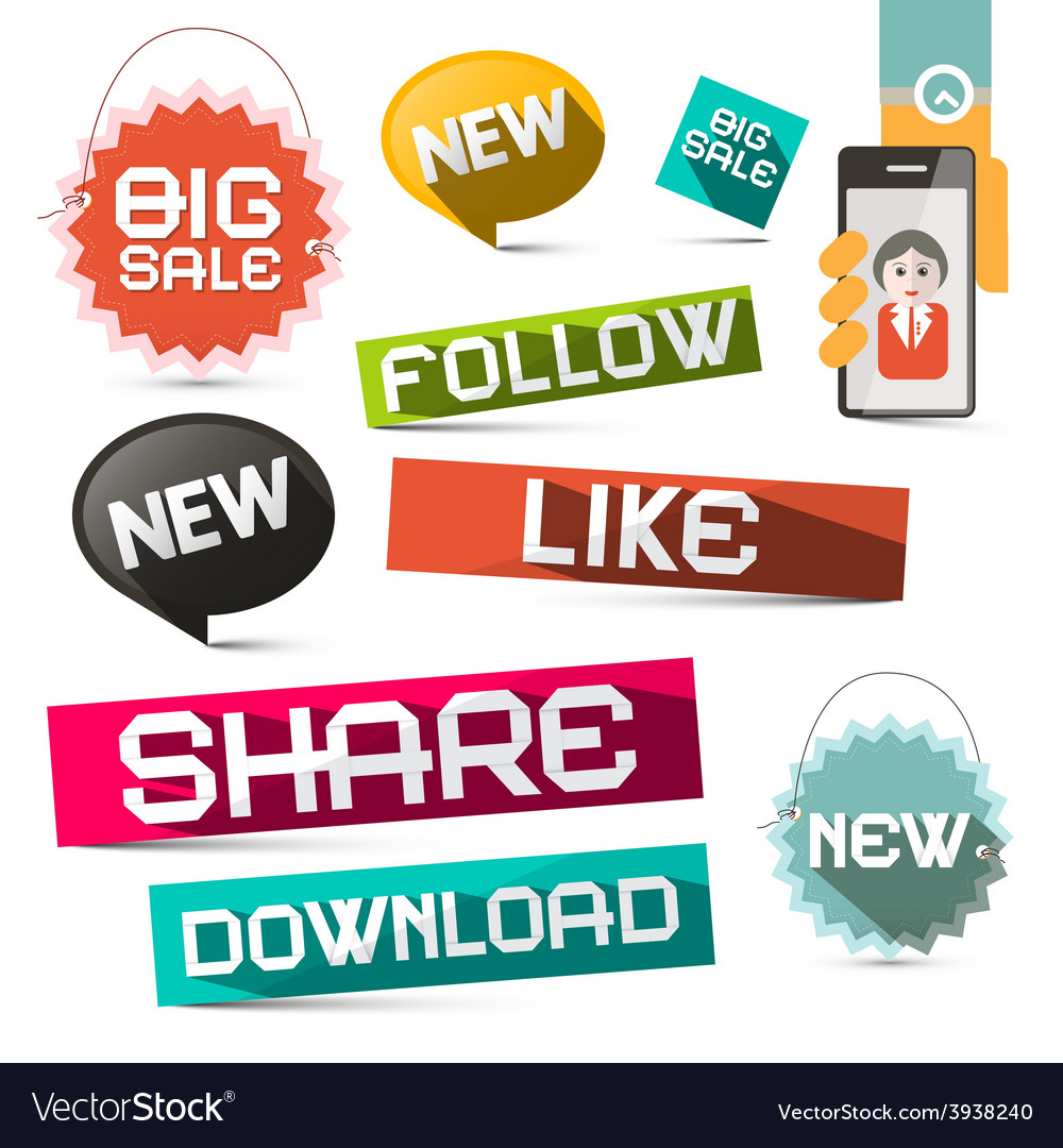 Social media paper symbols set with share - vector | Price: 1 Credit (USD $1)