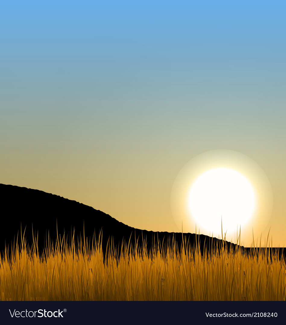 Sunrise with sun mountain and grass field vector | Price: 1 Credit (USD $1)