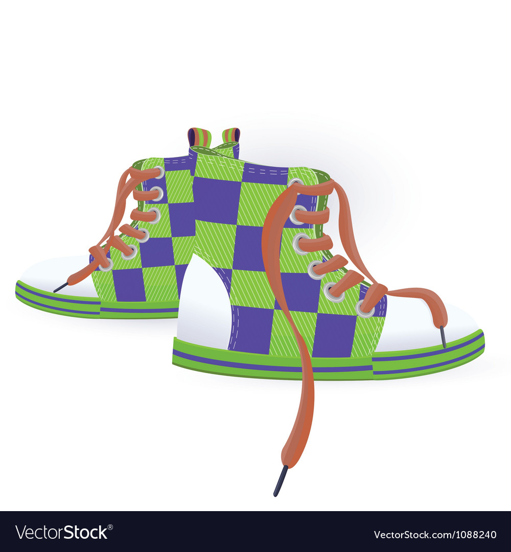 Two green sneakers vector | Price: 1 Credit (USD $1)