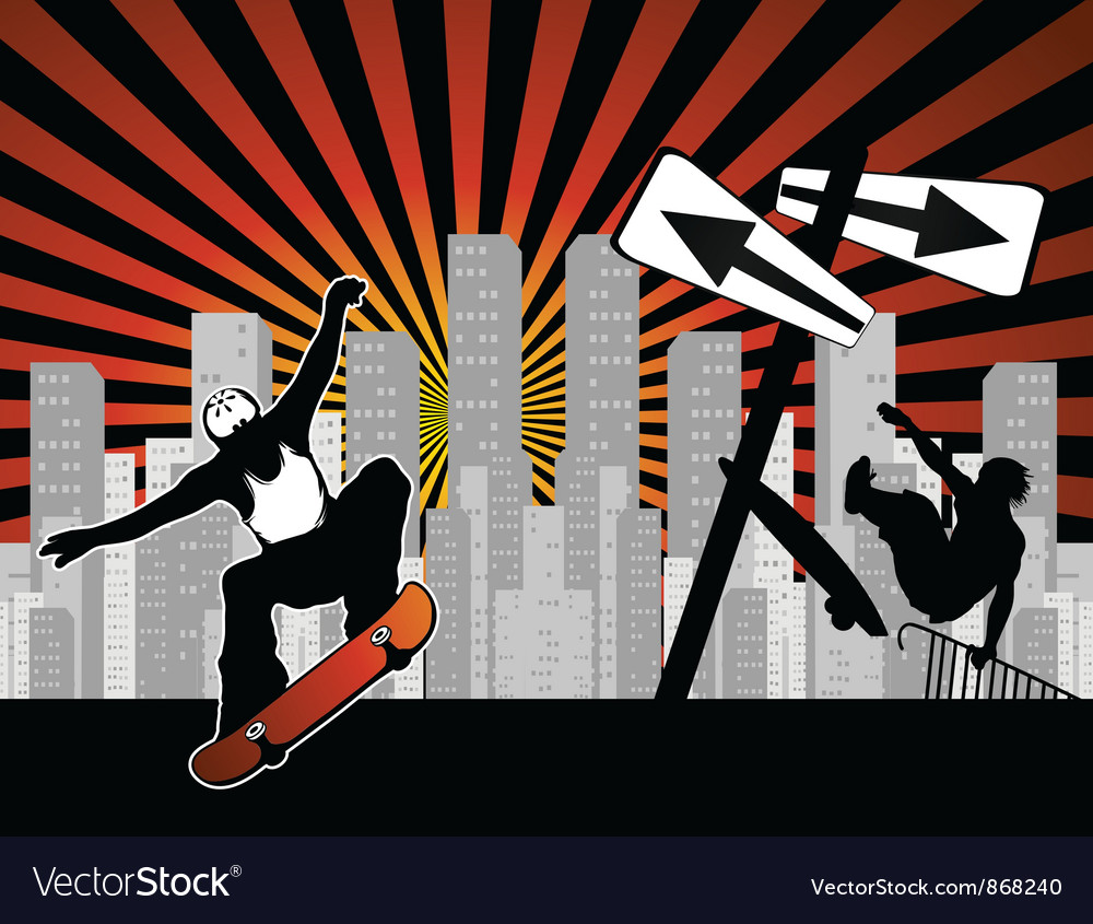 Urban background with skaters vector | Price: 1 Credit (USD $1)