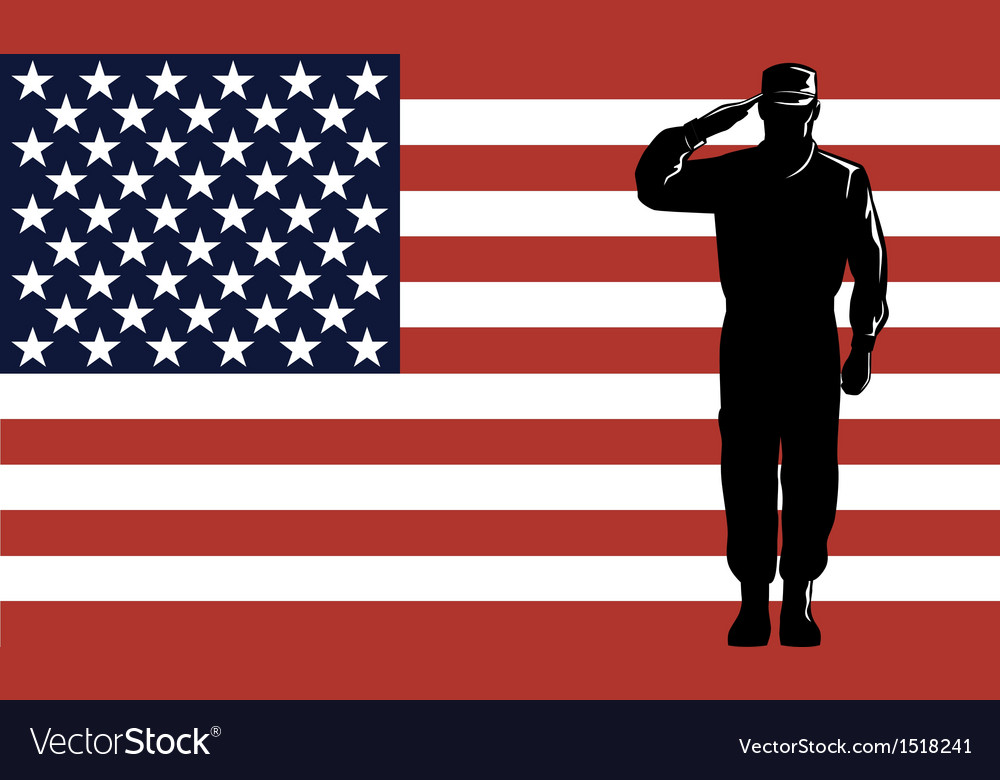 American solder serviceman saluting vector | Price: 1 Credit (USD $1)
