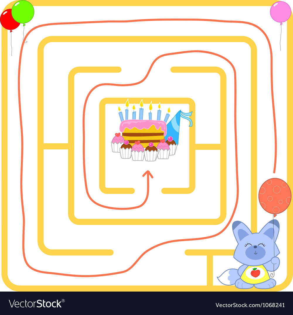 Birthday party maze vector | Price: 1 Credit (USD $1)