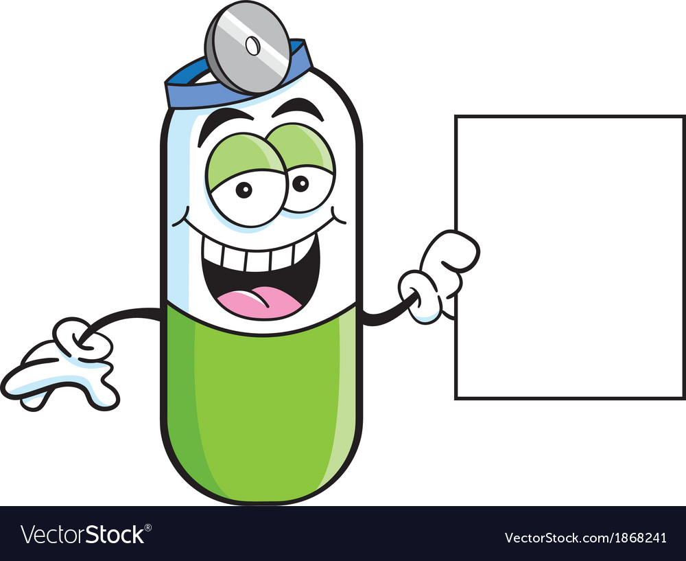 Cartoon pill capsule with a sign vector   Price: 1 Credit (USD $1)