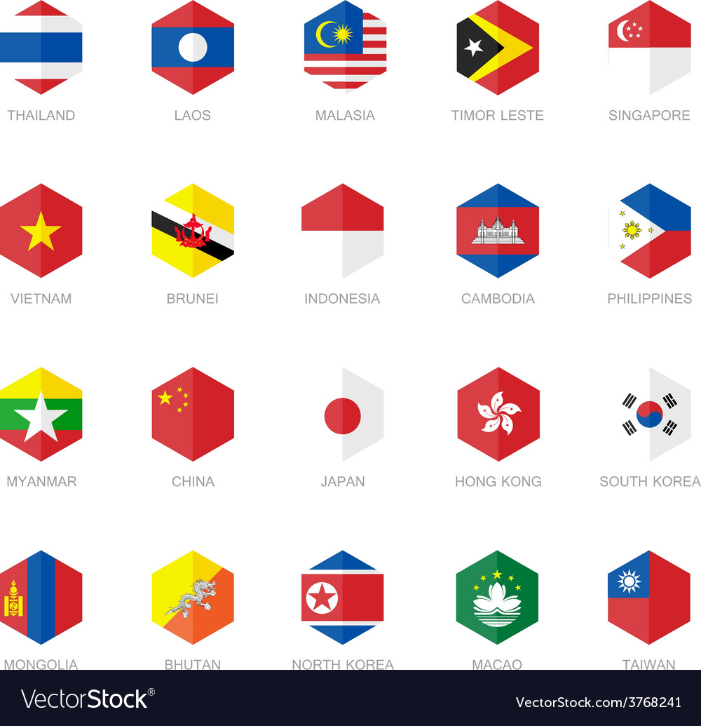 East asia and south east asia flag icons hexagon vector | Price: 1 Credit (USD $1)
