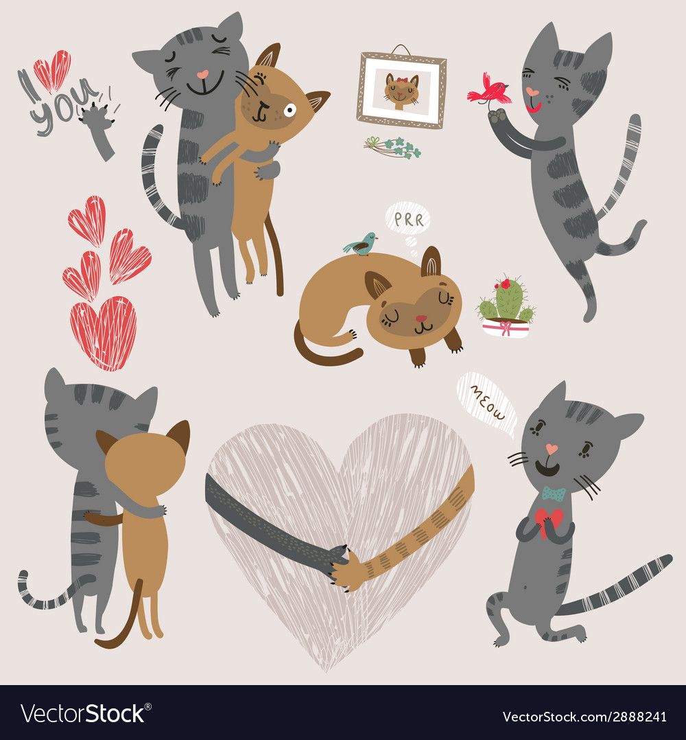 Enamored cats vector | Price: 1 Credit (USD $1)