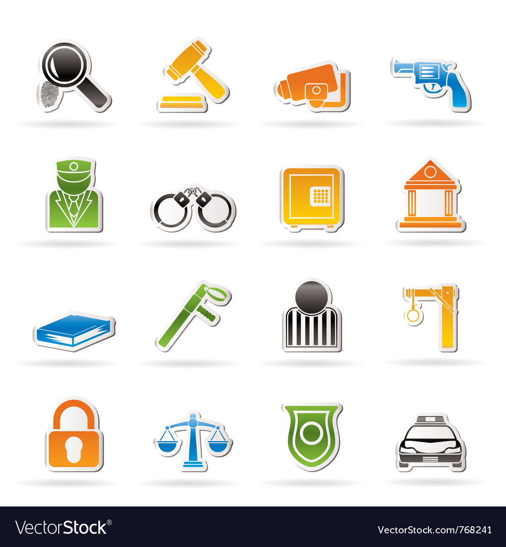 Police and crime icons vector | Price: 3 Credit (USD $3)