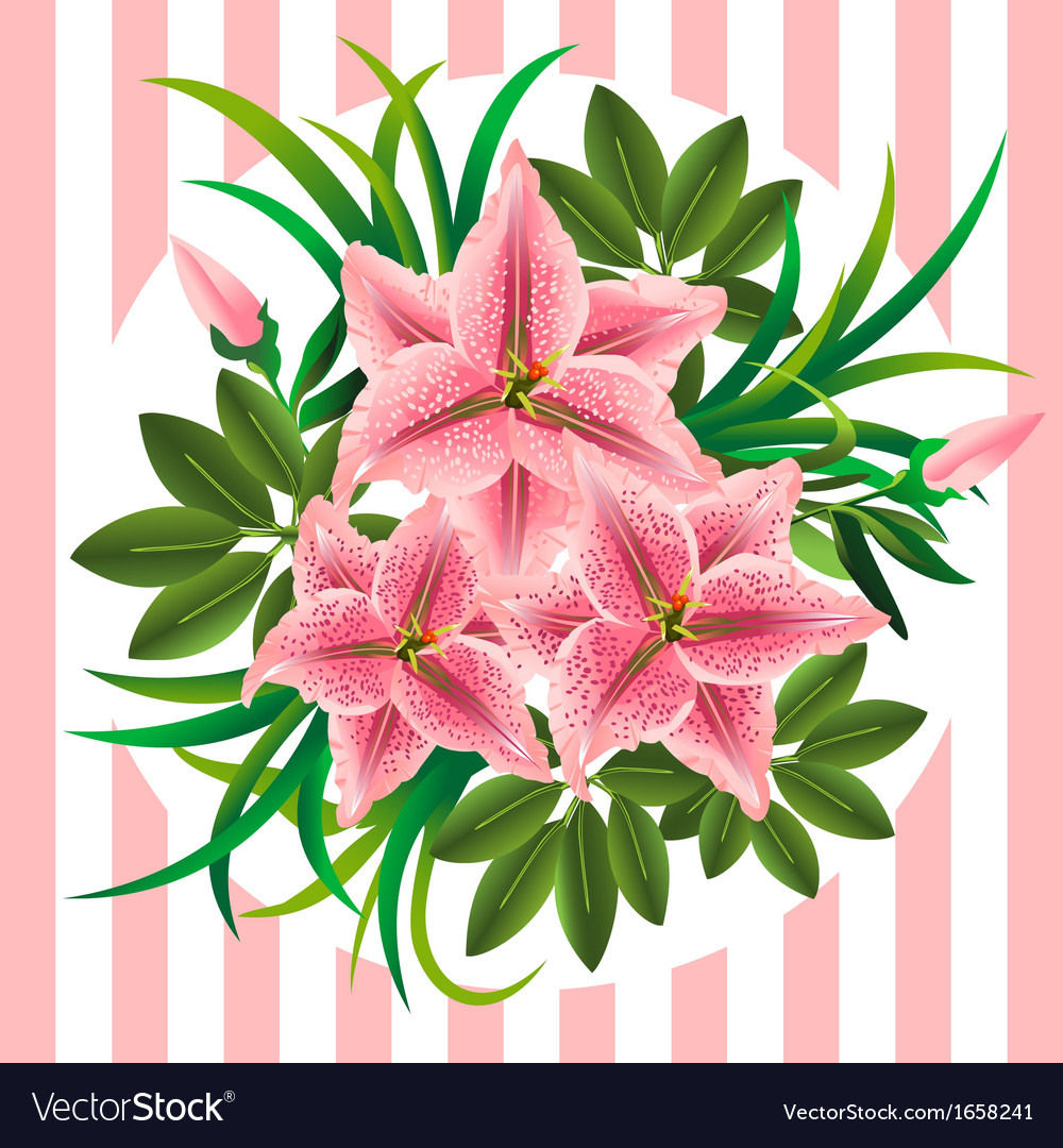 Retro bouquet with lilies buds and leaves vector   Price: 1 Credit (USD $1)