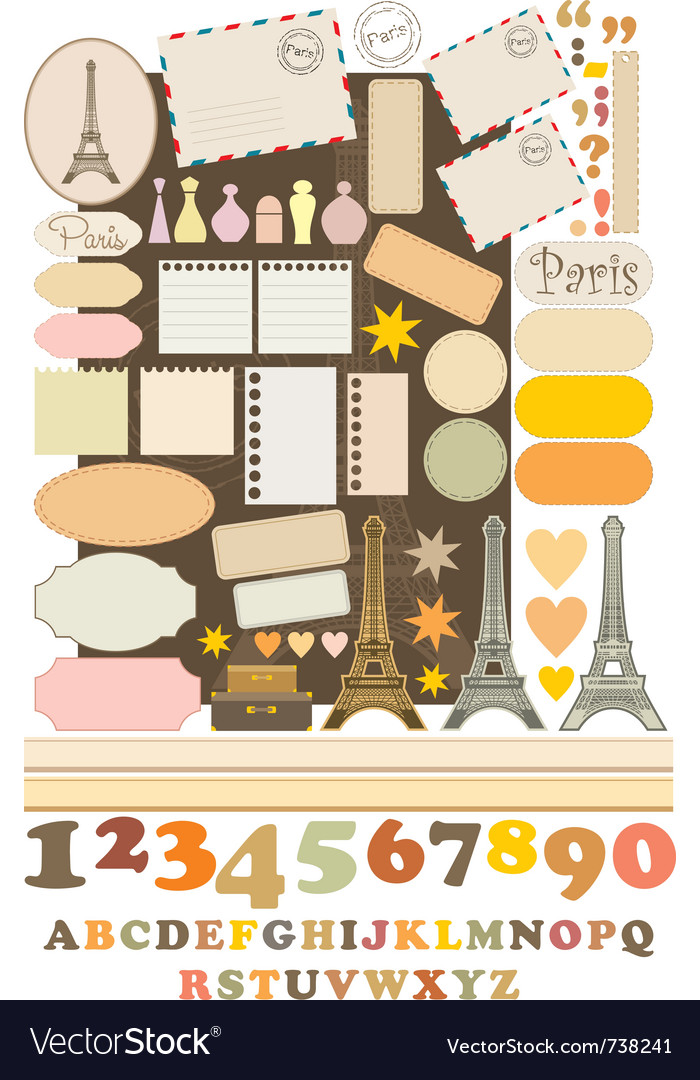 Scrapbook elements with tour deiffel vector | Price: 3 Credit (USD $3)