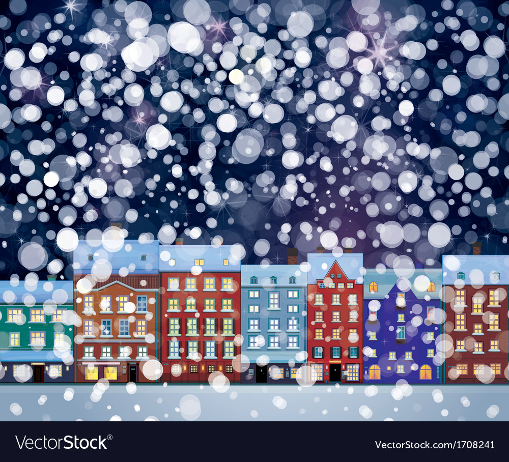 Winter city night vector | Price: 1 Credit (USD $1)