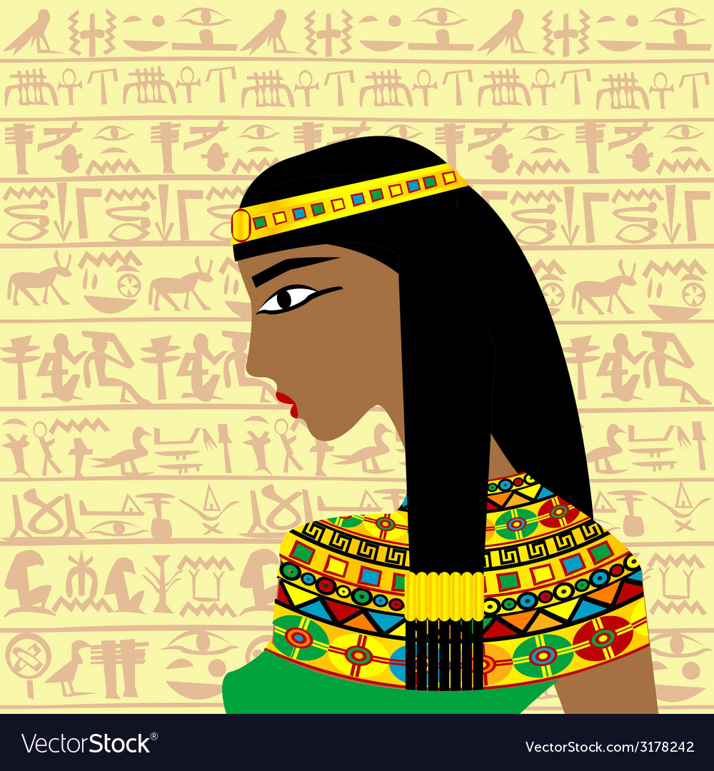 Ancient egyptian woman profile over a background vector | Price: 1 Credit (USD $1)
