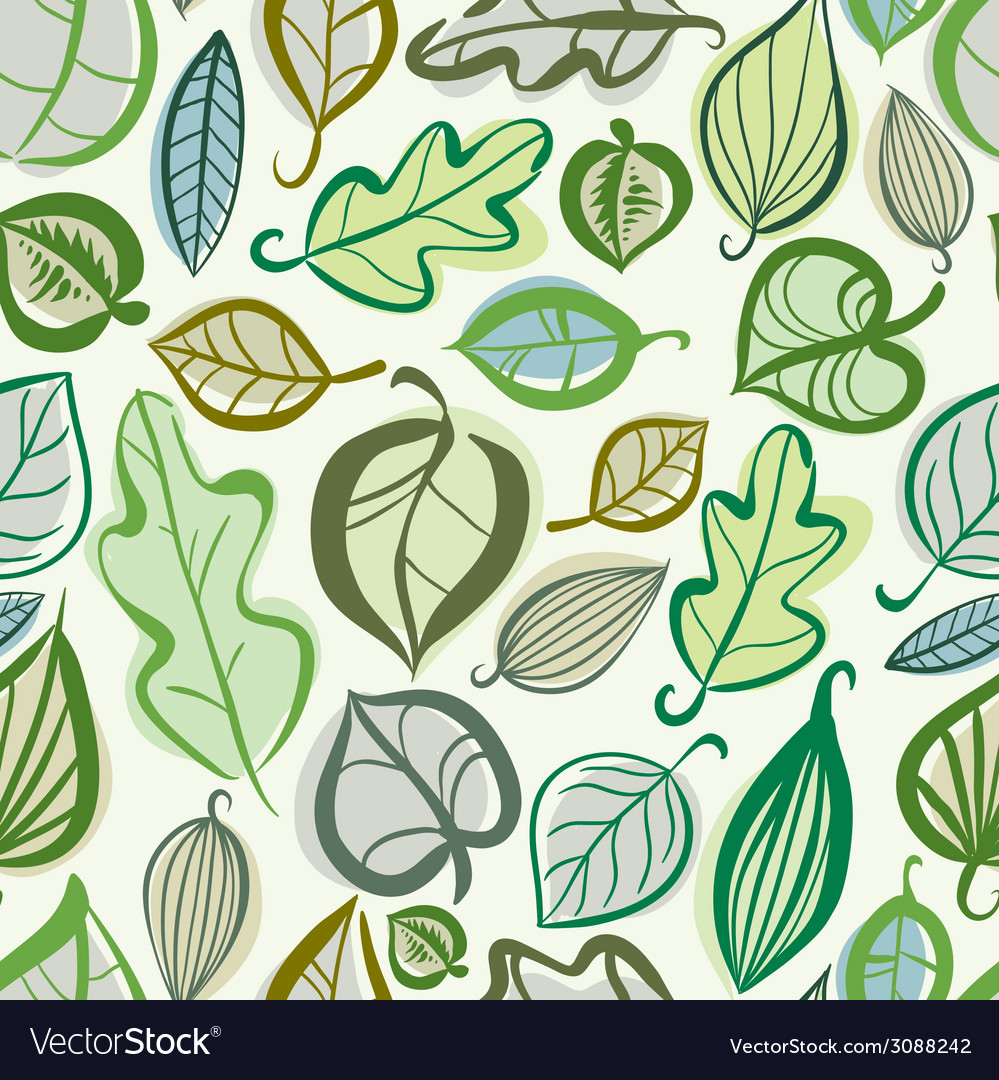 Beautiful leaves seamless pattern vector | Price: 1 Credit (USD $1)