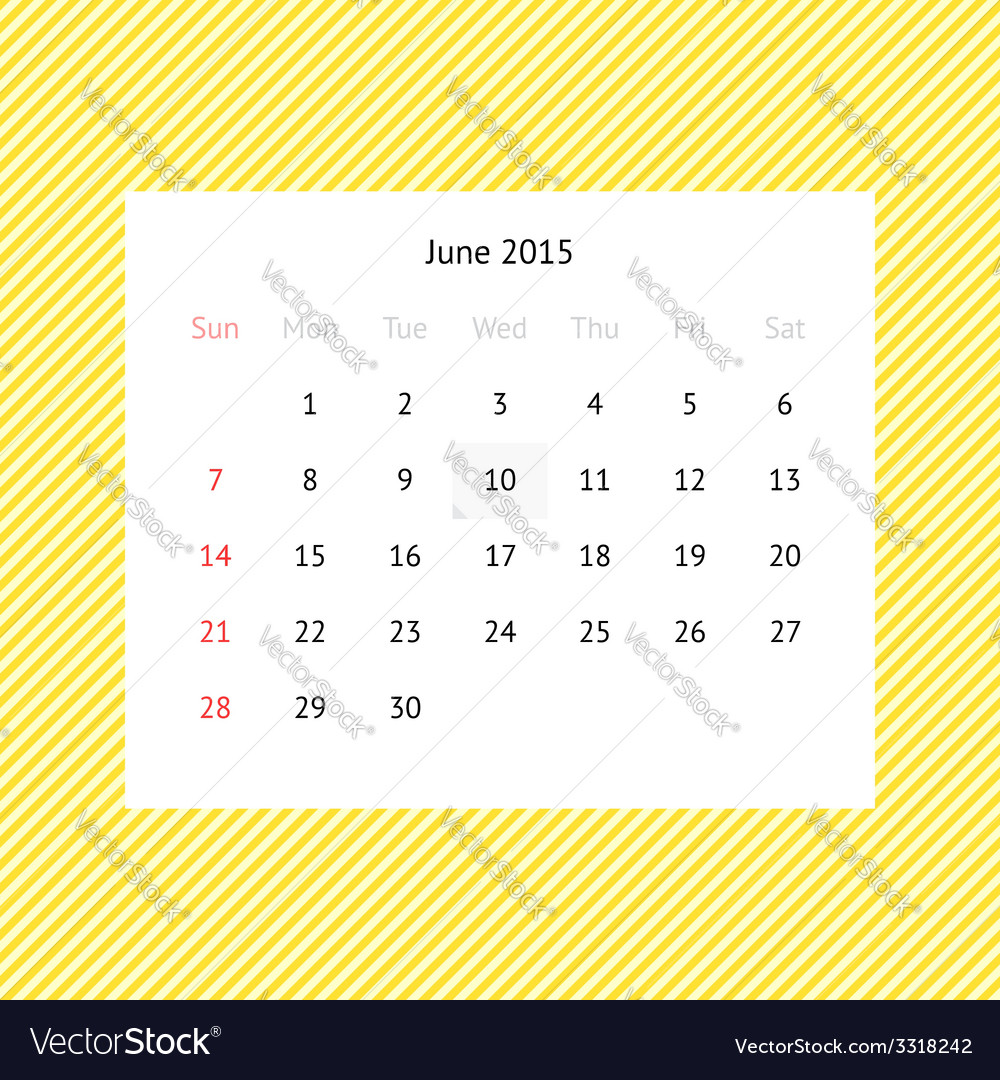 Calendar page for june 2015 vector | Price: 1 Credit (USD $1)