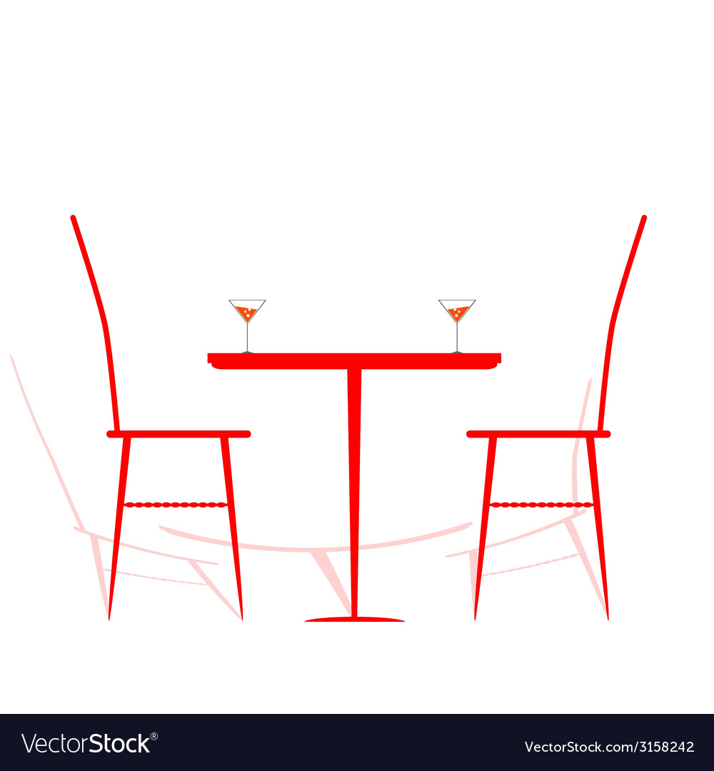 Chair and table with wine on it vector | Price: 1 Credit (USD $1)
