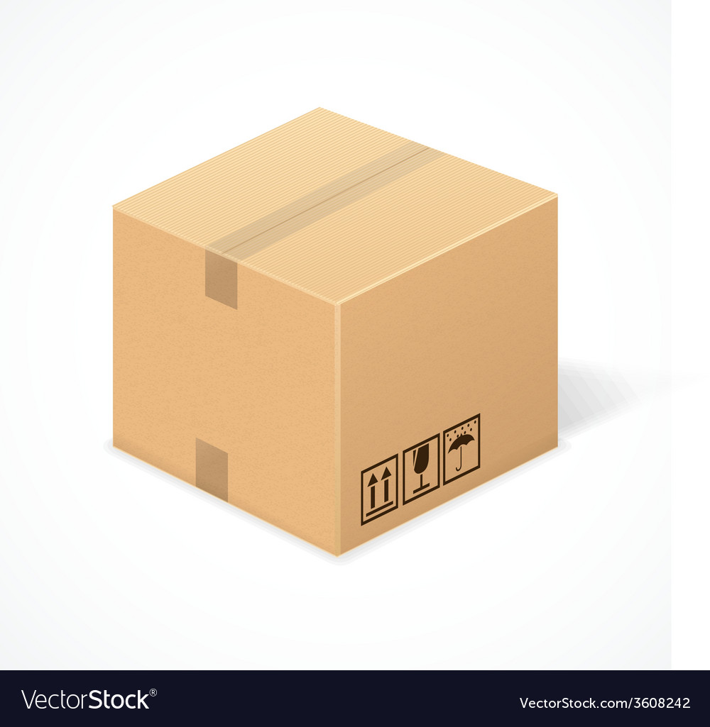 Closed cardboard box isolated on white vector | Price: 1 Credit (USD $1)