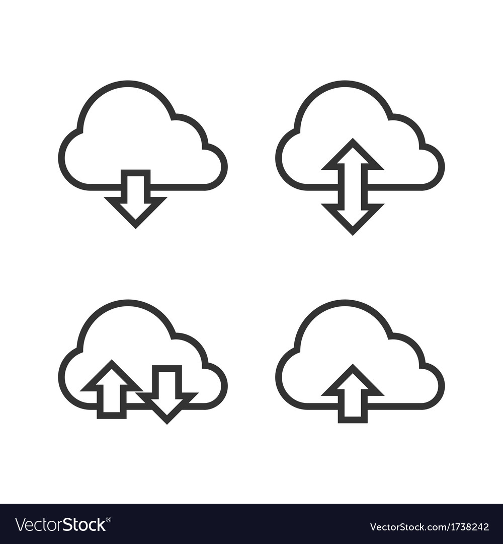 Cloud storage icon set vector | Price: 1 Credit (USD $1)