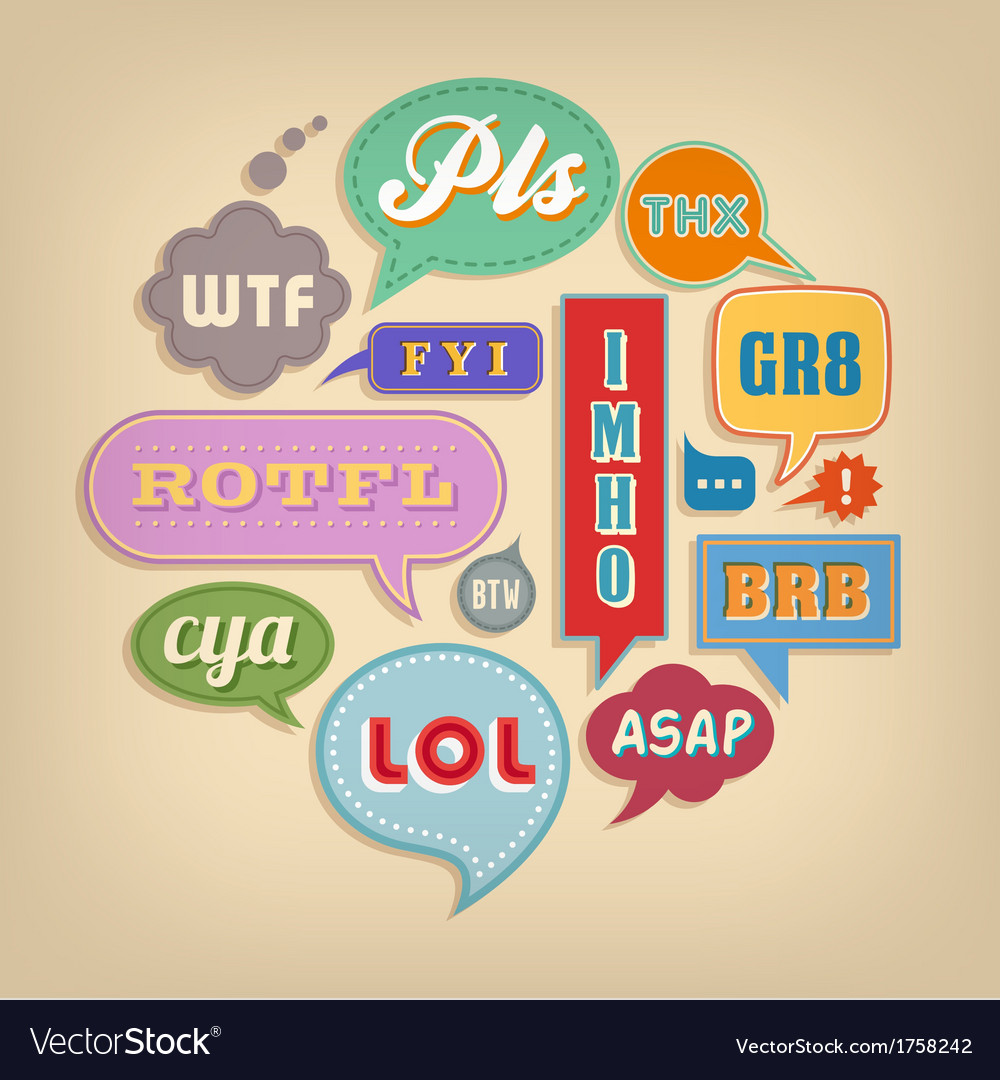 Comic speech bubbles set with popular acronyms vector | Price: 1 Credit (USD $1)