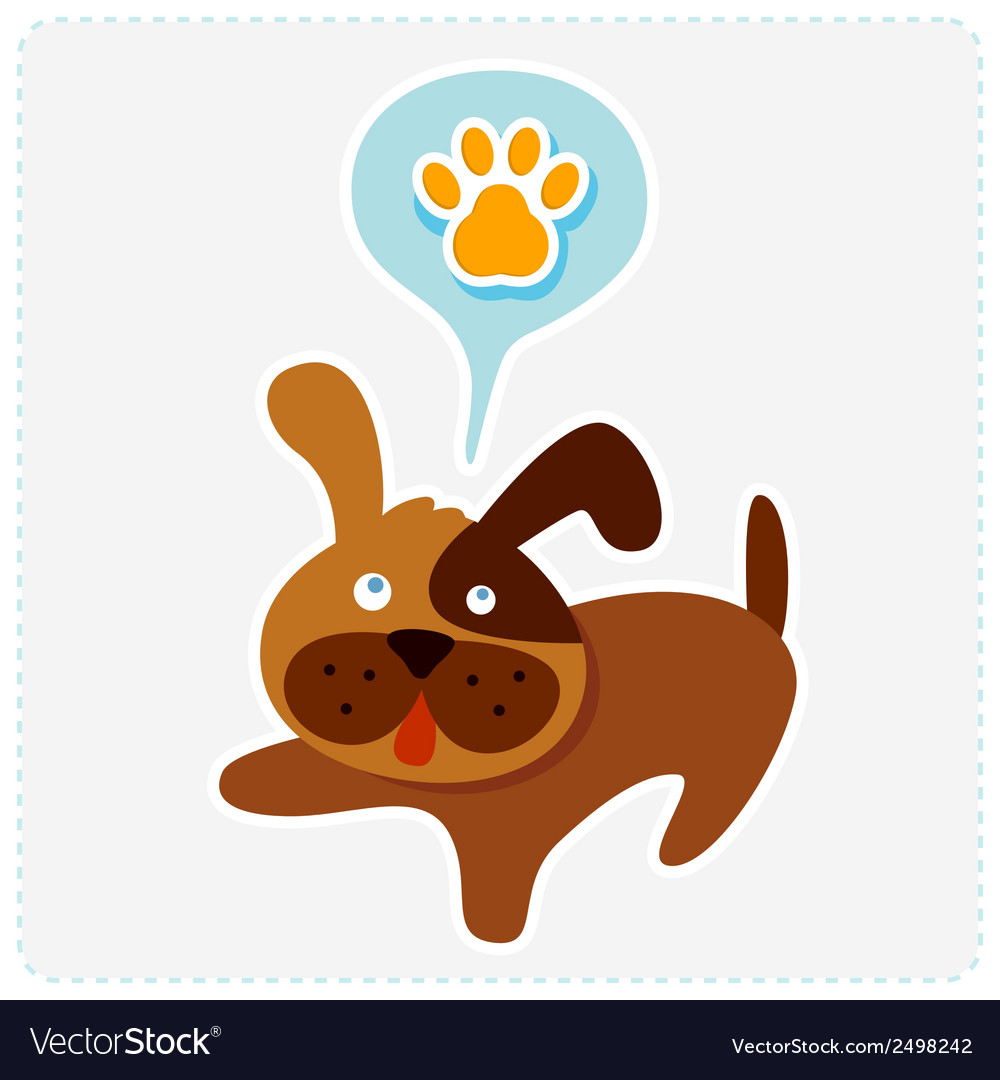 Cute cartoon dog with paw icon vector | Price: 1 Credit (USD $1)