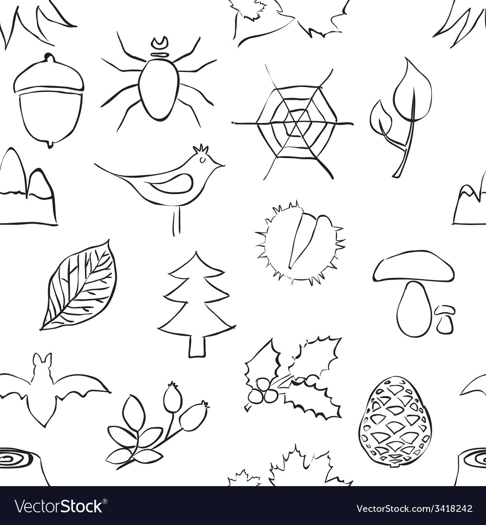 Doodle forest seamless pattern vector | Price: 1 Credit (USD $1)
