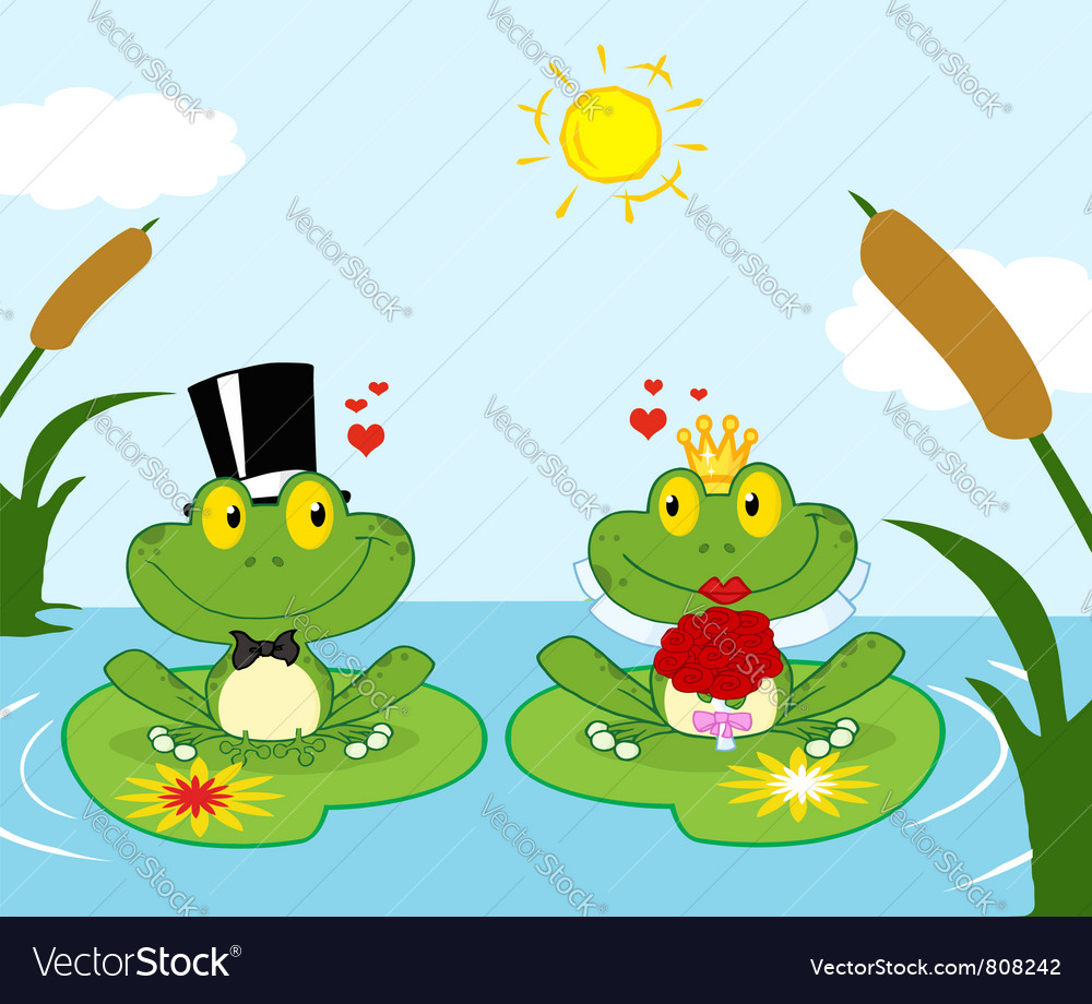 Frog bride and groom on a pond vector | Price: 1 Credit (USD $1)