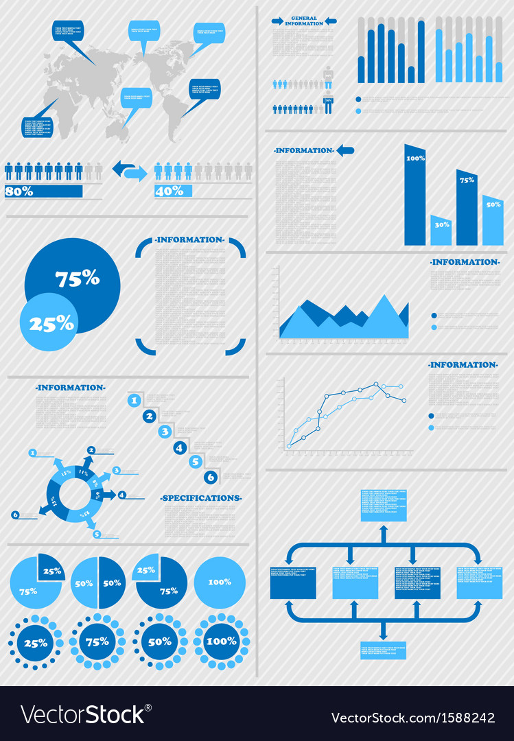 Infographic demographics 5 blue vector