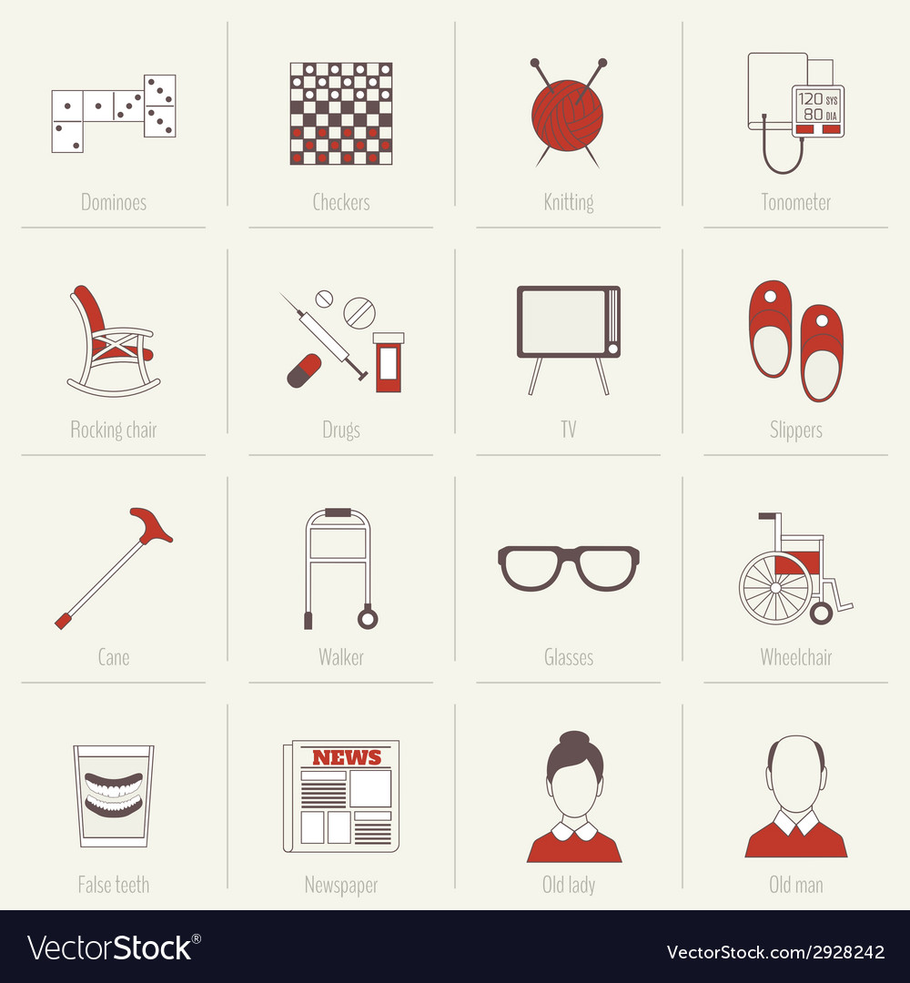 Pensioners life icons flat line vector | Price: 1 Credit (USD $1)
