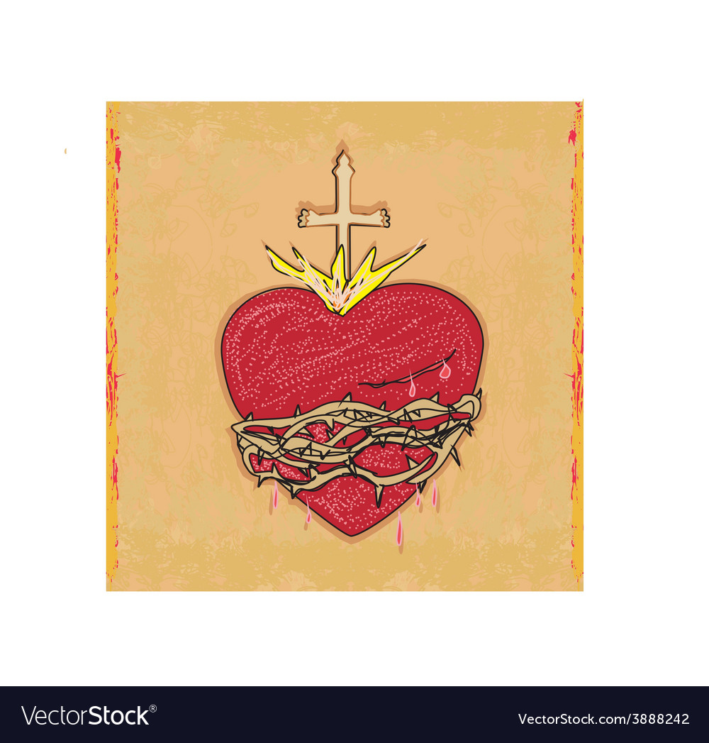 The sacred heart of jesus on grunge background vector | Price: 1 Credit (USD $1)