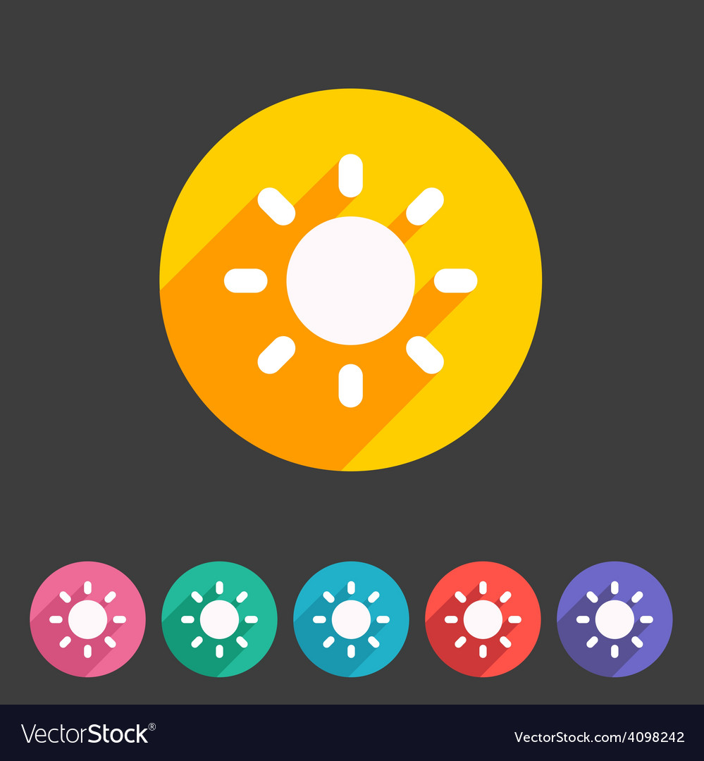 Sun badge flat icon sign set symbol vector | Price: 1 Credit (USD $1)