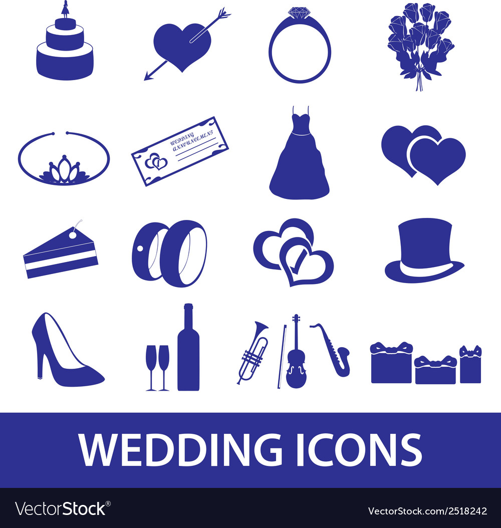 Wedding icons set eps10 vector | Price: 1 Credit (USD $1)