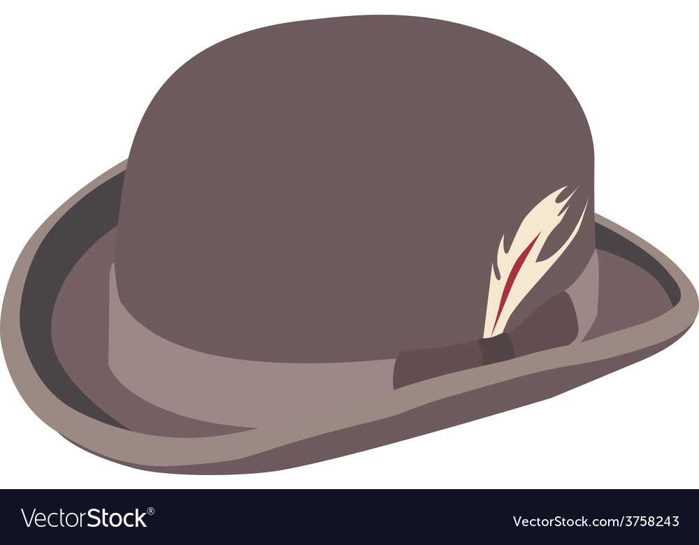 Brown bowler hat with feather vector | Price: 1 Credit (USD $1)