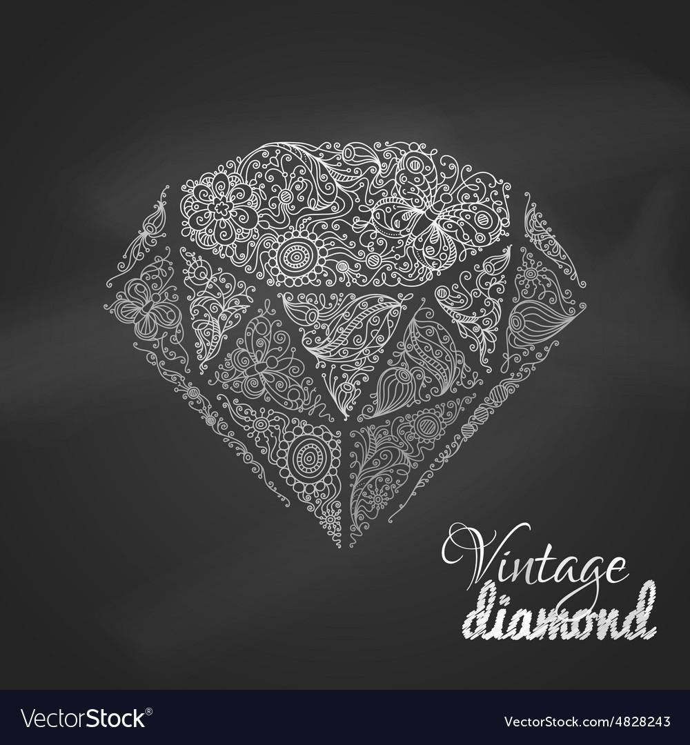 Chalk vintage diamond vector
