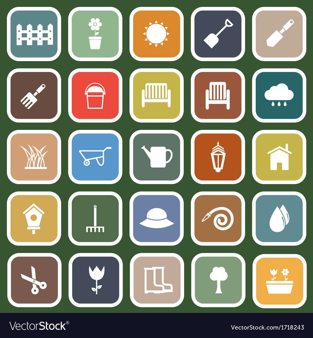Gardening flat icons on green background vector | Price: 1 Credit (USD $1)