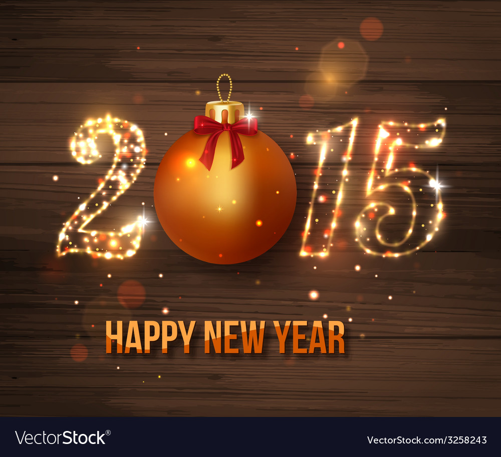 Happy new year 2015 celebration concept on wooden vector | Price: 1 Credit (USD $1)