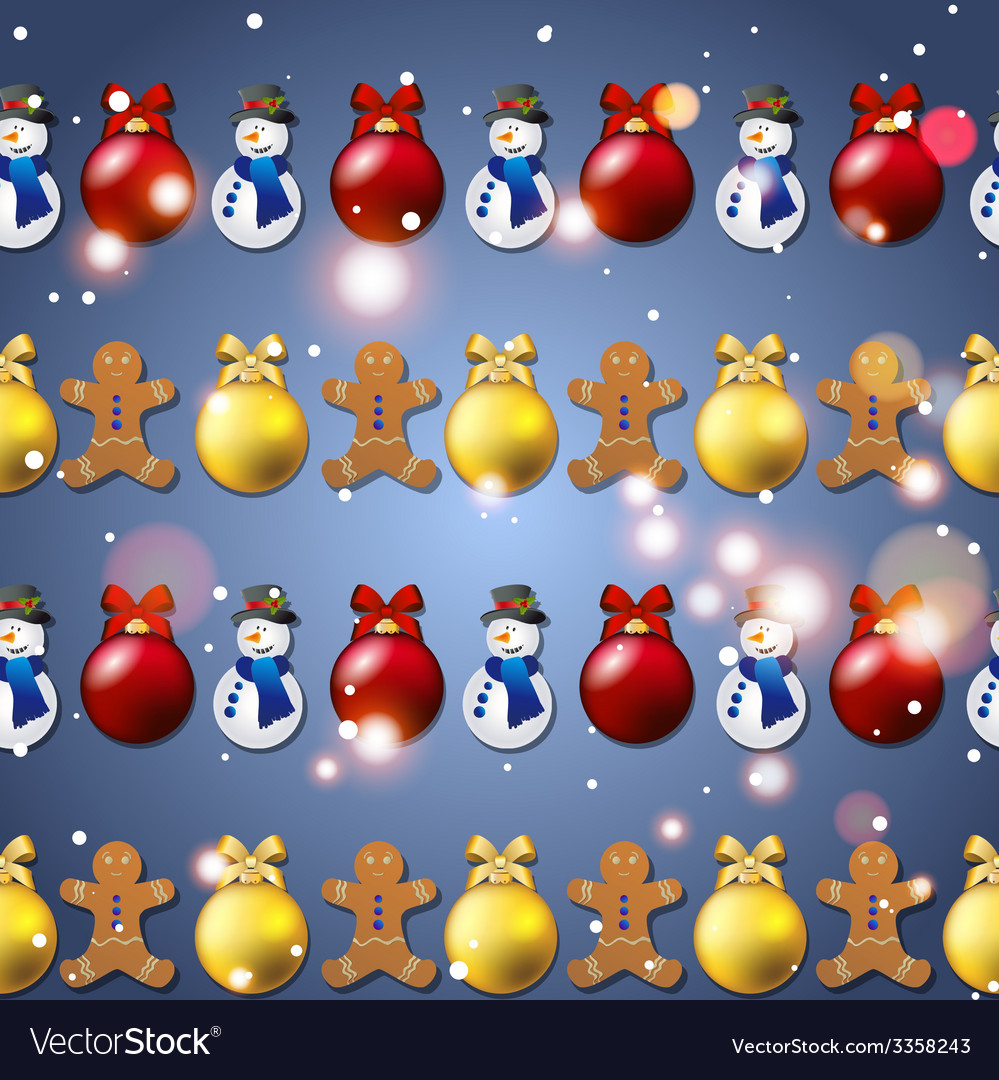 New year pattern with christmas tree toys vector | Price: 1 Credit (USD $1)