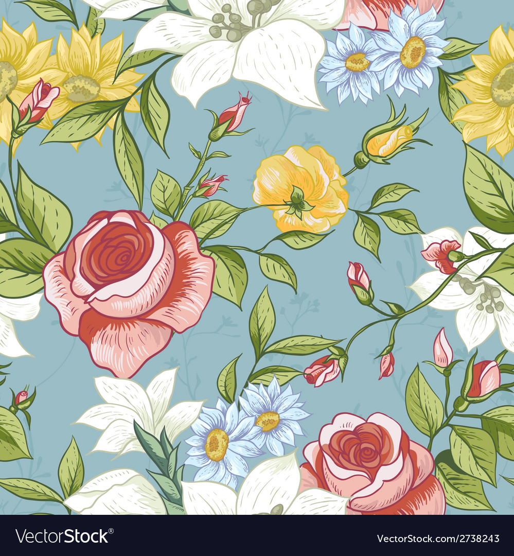Seamless pattern with vintage wildflowers vector | Price: 1 Credit (USD $1)
