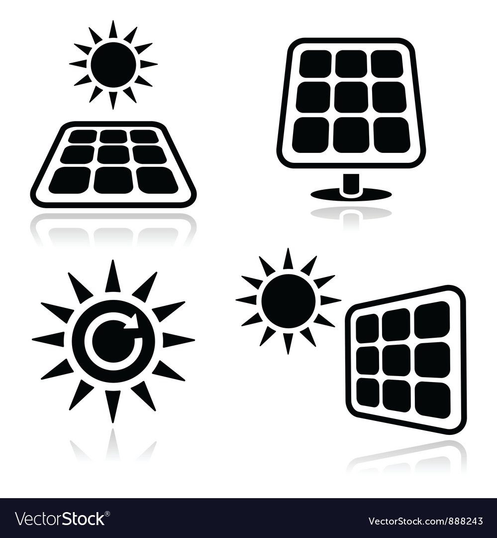 Solar panels icons vector | Price: 1 Credit (USD $1)