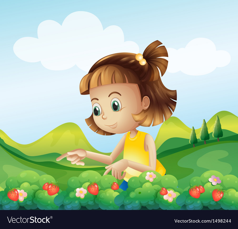 A little girl at the strawberry farm vector | Price: 1 Credit (USD $1)