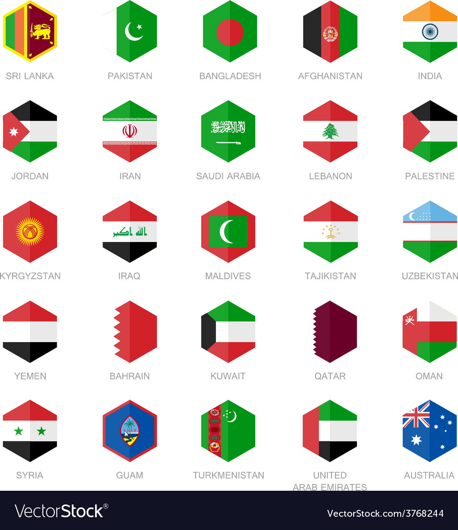Asia middle east and south asia flag icons hexagon vector | Price: 1 Credit (USD $1)