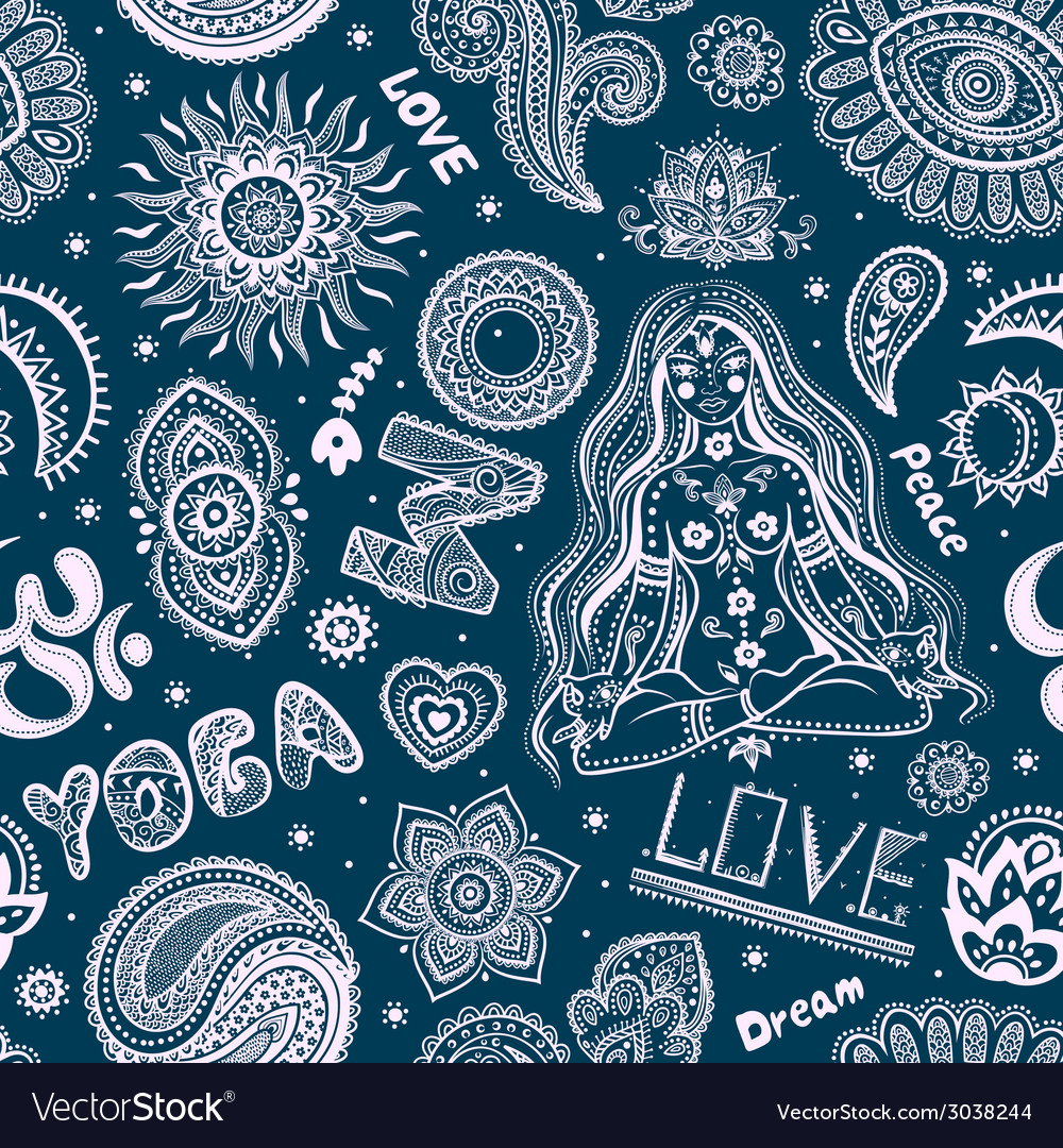 Beautifull seamless yoga pattern with ornaments vector | Price: 1 Credit (USD $1)