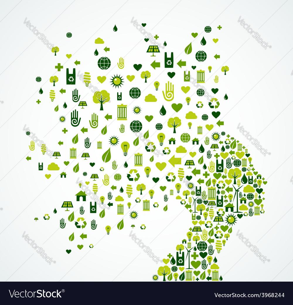 Ecology app icons splash woman head vector   Price: 1 Credit (USD $1)