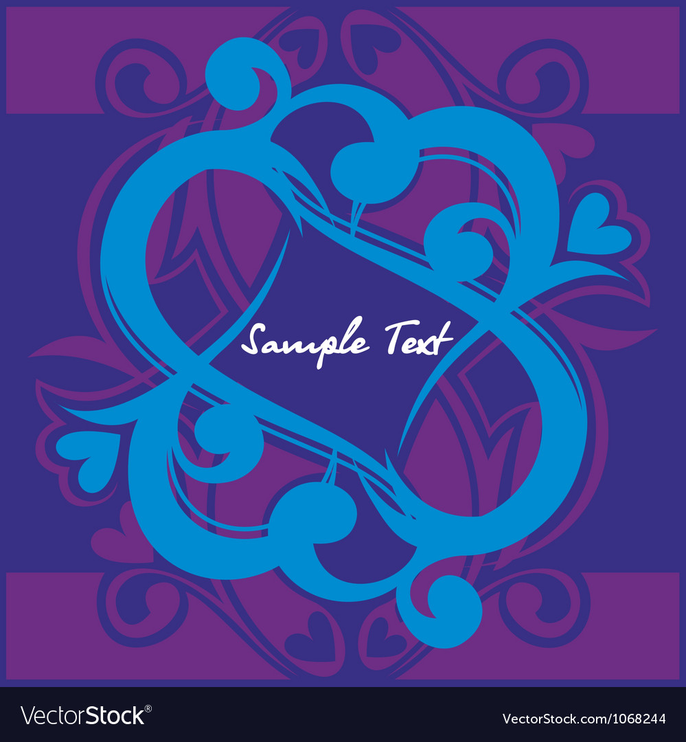 Floral hearth on blue background vector   Price: 1 Credit (USD $1)