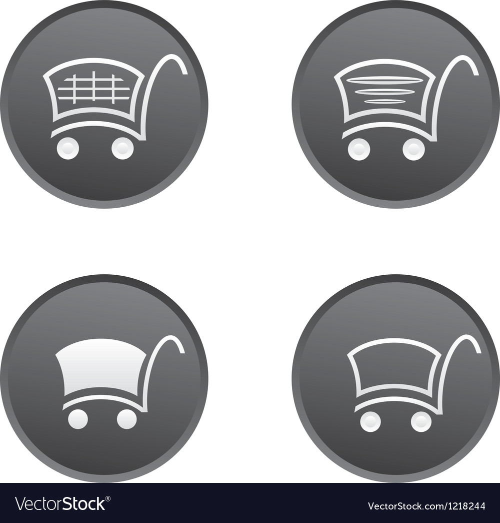 Icon set with a cart for a supermarket vector | Price: 1 Credit (USD $1)