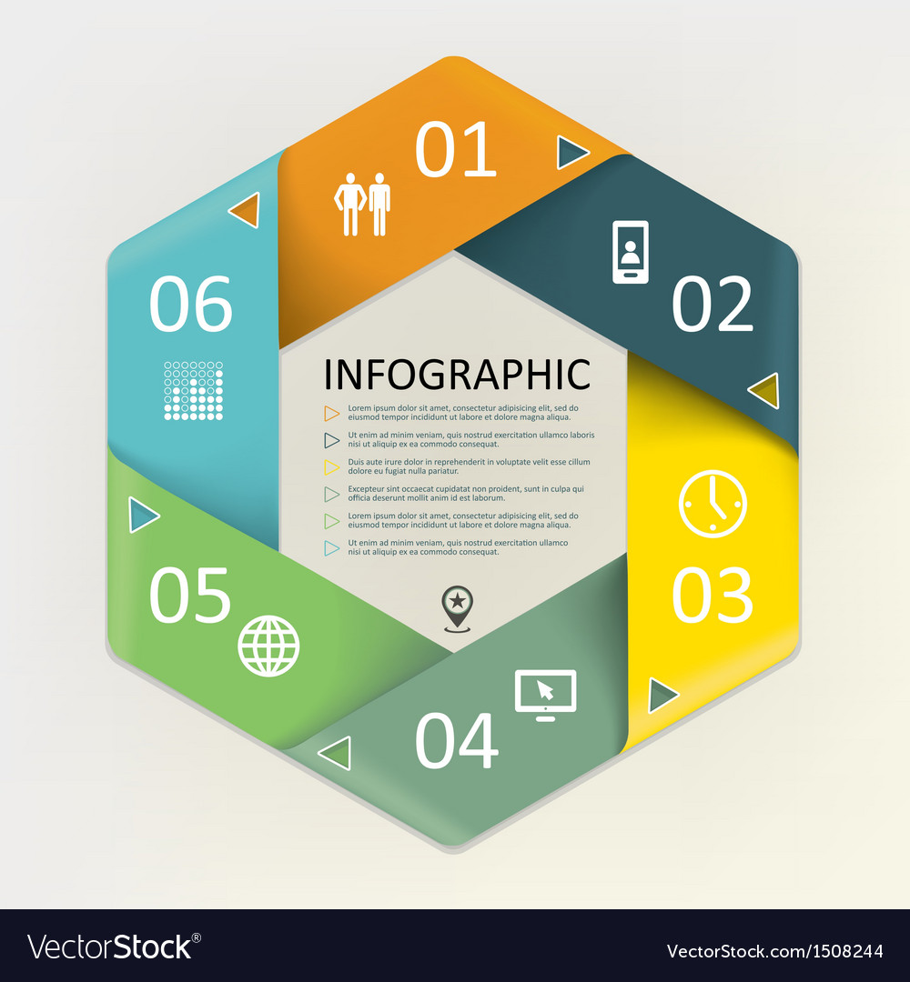 Infographic - six steps process vector | Price: 1 Credit (USD $1)