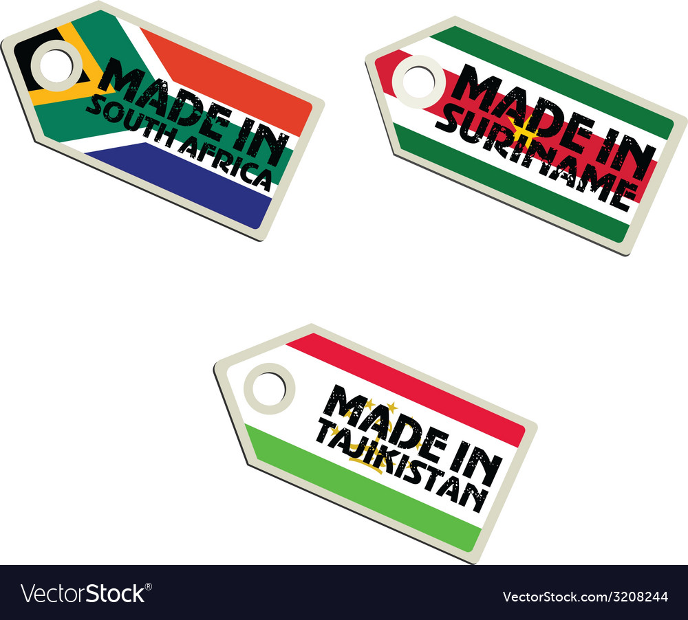 Label made in south africa suriname tajikistan vector