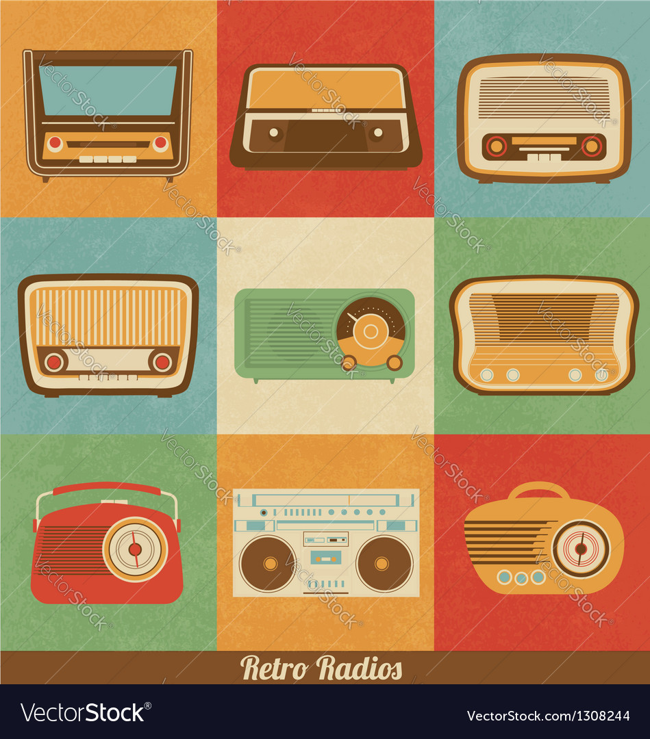 Retro radios vector | Price: 1 Credit (USD $1)